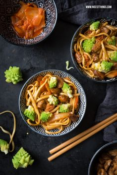 Asian Soba Noodles with Kimchi, Romanesco and Chicken © Motaz Al Tawil