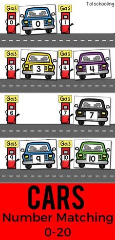 FREE printable Car theme number matching activity for preschoolers to learn their numbers and practice number recognition. Great for a transportation or math center for preschool or kindergarten.