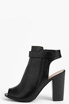 Zapatos negros con cordones de punta abierta Boohoo para mujer GhevWq