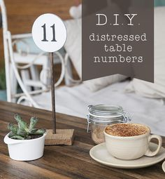 Crafted: D.I.Y. distressed table numbers