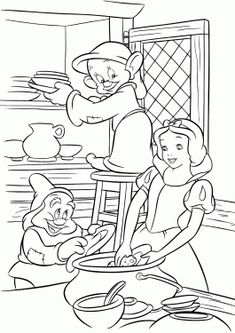 Snow White coloring pages for kids, printable free