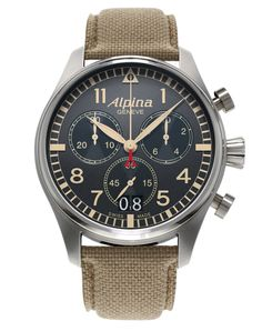 Alpina Startimer Chronograph Big Date with military grey dial and sand  colour indexes. Swiss Made professional pilot watch. f252de2ca1