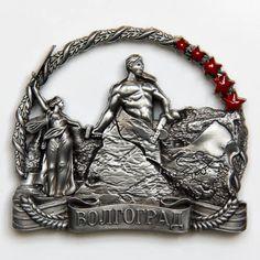 Metal Fridge Magnet: Russia. Volgograd. Mamayev Kurgan (Silver Color)