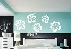Hibiscus Blossoms 5 Piece Set Wall Decal - Cute Blossom Decor