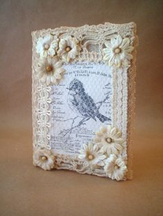 Altered Mini Composition Notebook Vintage Lace by BrownPaperNest...but wouldn't it make a great card?!