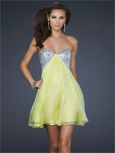 Sexy Strapless with Sequined Bust Open double strap back Chiffon Prom Dress PD10721