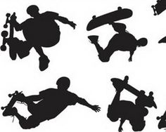Vector Silhouette of Skateboarders-Idea for entry way mural in my classroom