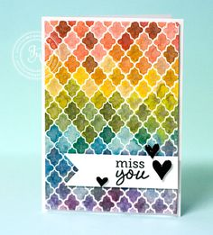 Card by Jennifer McGuire featuring Hero Arts - Studio Calico Lattice Background stamp + Distress markers #HeroArts