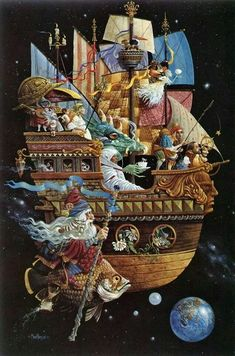 Sailing in the heavens.