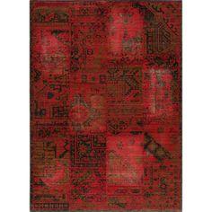 Hamadan Patchwork Red Wool Rug