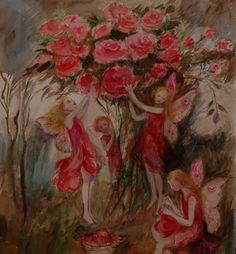 Change the mood of your home with a whimsical #painting! #Fairy  painting by Jane at #CommissionanArtist  .