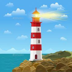 Lighthouse on ocean or sea beach cartoon background vector illustration. Lighthouse on coast of sea, structure of lighthouse on sh