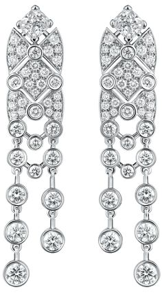 """Signature White Tie"" #Earrings from #SignatureDeChanel - #Chanel - #FineJewelry collection in 18K white gold set with 2 #CushionCut - #Diamonds (total weight 1 carat) and 116 #BrilliantCut diamonds (total weight 3.3 cts) - January 2016"
