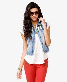 denim vest with a striped liner