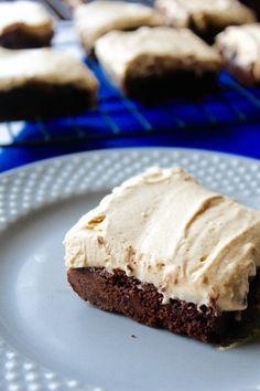 Gluten Free Brownies with Peanut Butter Mousse--- healthier brownies made with teff flour and topped with a coconut cream peanut butter mousse!