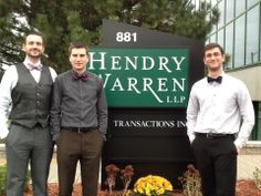 Three of our dapper business co-op students represent us well on their work term at a local accounting firm. Eric, the tallest student, elevated the standard of dress by instigating Bowtie Wednesdays in the office. It's the little things. -Katie L. Accounting Firms, Dapper, Leadership, Students, Collage, Business, Dress, Gowns, Collages