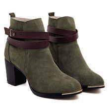Mujer botas 2015 nuevo otoño mujeres botines de cuero genuino Martin botas de Metal de corea cabeza redonda botas de invierno(China (Mainland))