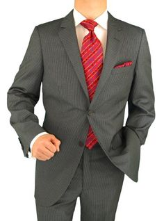 Presidential Suit Italian Modern Fit 2 Button Mens Business Suit Charcoal Gray Narrow StripedPresidential suit. This suit is exclusively hand finished by the most excellent craftsmen at lowest online price. Please choose the size you normally wear in designer Men's suits. JACKET: Beautiful single breasted 3 pockets outside 2 with flaps, notch lapel, 4-button vented sleeves, matching inside full lining, center vents. PANTS: Flat front pants, lined...