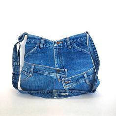 Bandolera del dril de algodón reciclado bolso de jean azul