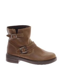 Image 1 ofASOS ASTRONAUT Leather Biker Ankle Boots