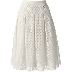 Lands' End Women's Petite Pleated Eyelet A-line Skirt ($79) ❤ liked on Polyvore featuring skirts, ivory, petite white skirt, pleated skirt, lands' end, pleated a line skirt and lands end skirts