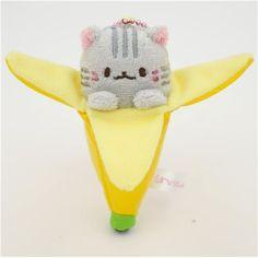 cute Bananya banana cat grey tiger plush charm from Japan 1