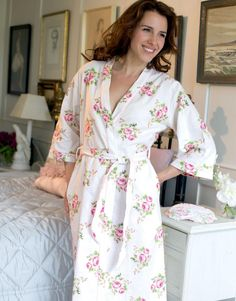 Flower Brushed cotton kimono dressing gown