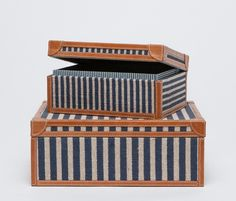 These striped canvas boxes were inspired by sailboats of the Stitched leather along the edges and corners brings them back to land. Available in Finishes: Navy/White Stripe Canvas *Sold as set of 2 Cute Canvas, Beach Cottage Decor, Striped Canvas, Stitching Leather, Creative Decor, Made Goods, Jewellery Storage, Elle Decor, Box Art