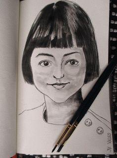 Pinturas e debuxos: O seu cabelo moreno, peiteado nunha media melena l...
