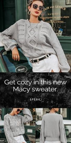Macy – the perfect sweater for your fall wardrobe. Winter Outfits Men, Cute Fall Outfits, Leopard Print Outfits, Red Sweater Dress, Crochet Woman, Black Women Fashion, Fall Wardrobe, Cozy Sweaters, Beautiful Crochet