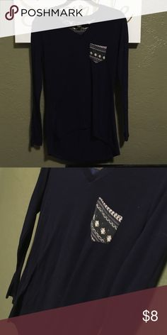 Navy Blue Hi low top Route 21 size large oversized Hilow top great with leggings or jeans supersoft 22% polyester 52% cotton 23% rayon 3% spandex super comfortable reposhing because it doesn't fit Navy blue with working pocket Rue21 Tops Tunics