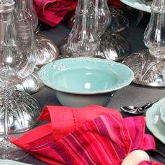 Conjunto Bowls Flor de Lis Verde - 6 Peças-  em Cerâmica - Porto Brasil - 17,5x8 cm