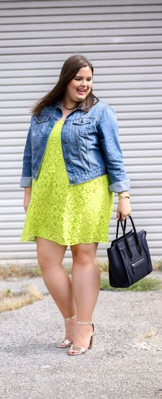 neon yellow lace dress and the best denim jacket