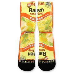We custom design and print all of our Chicken Ramen Noodles Custom Athletic Fresh Socks Custom Fresh Athletic Fresh Socks. We print all orders on demand and no two pairs are identical. Wacky Socks, Crazy Socks, Nike Elites, Nike Elite Socks, Nike Socks, Fish Net Tights Outfit, Food Socks, Iphone 5c, Elite Socks