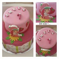 Voor Amely - Strawberry Shortcake. Vanillecake gevuld met vanillebotercreme met verse aarbeien en aarbeienjam. 15 en 24cm.