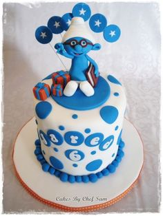 This was a small cake for a little boy who loves Brainy Smurf. Little Boy Cakes, Cakes For Boys, Cupcake Cookies, Cupcakes, Bithday Cake, Adult Birthday Cakes, Cake Images, Pretty Cakes, Cake Creations