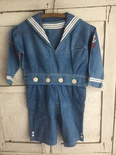 Gorgeous RARE Antique Nautical Early Blue Chambray Denim Boys Sailor Suit AAFA | eBay