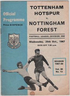 Vintage Football (soccer) Programme - Tottenham Hotspur v Nottingham Forest, 1967/68 season