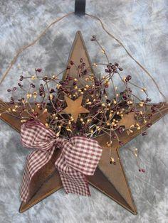 16 Burgandy Mustard Rusty Tin Star Berry Wall Pocket Primitive Country Decor