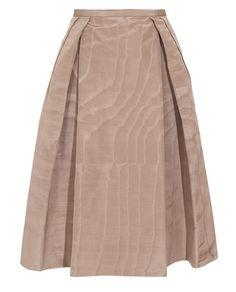 pleated silk-twill full skirt rochas browns Brown Fashion, Full Skirts,  Skirts, 97b77c09cc
