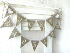 JUST MARRIED bannière de toile de jute, banderoles, bannière mariage, guirlande mariage, bannière de table de gâteau sur Etsy, 25,78€