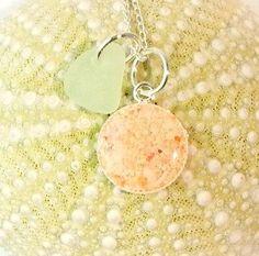 Handmade Genuine Sea Glass Jewelry Bermuda Sand Necklace In Resin And Sea Foam Seaglass | Surfside Sea Glass Jewelry