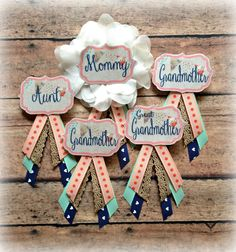 Coral, Navy & Mint Shabby Chic Baby Shower Badge - Custom Order : EllieKattCollection.Etsy.com