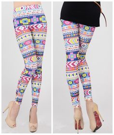 women's retro colorful aztec Geometric legging stretchy tights pants leggings