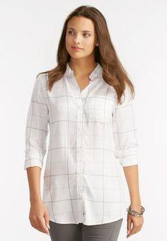 Cato Fashions Windowpane High-Low Shirt-Plus #CatoFashions