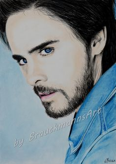 Jared Leto pastel and colored pencil drawing on 24x30 paper  https://www.facebook.com/BrauckmannsART