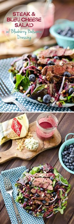 Steak & Bleu Cheese Salad with Blueberry Balsamic Dressing - This salad blends a hearty mix of grilled steak, bleu cheese, fresh blueberries and pine nuts with a tangy blueberry balsamic dressing