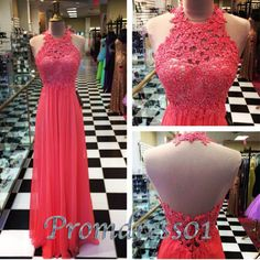 2015 cute coral lace backless chiffon long slim prom dress for teens, ball gown, evening dress, bridesmaid dress #promdress #wedding
