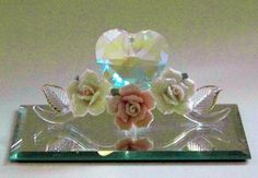 Vintage Blown Glass Figurine with Crystal by PaintedOnPlaques, $35.00