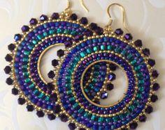 Beadwork Hoop Earrings - Metallic Plum GODDESS Seed Bead Earrings